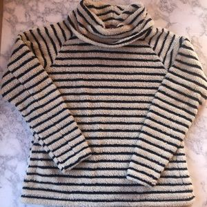 Lands End Sherpa Cowl Neck Striped Pullover